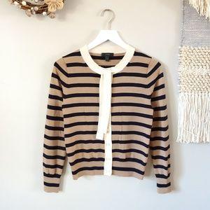 J. Crew | Jackie Tie-neck Stripe Cardigan Sweater